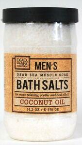Dead Sea Collection 34.2 Oz Men's Relaxing Coconut Oil Muscle Soak Bath Salts