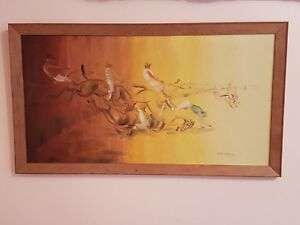 Vintage Oil Painting On Board 'Horse Race', Signed By Scottish Artist Anne Brown