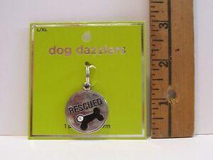 NEW DOG DAZZLERS RESCUED DOG BLACK BONE RHINESTONE COLLAR CHARM SIZE L XL