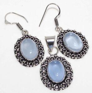 Purple Chalcedony 925 Silver Plated Handmade Pendant Earrings Set Jewelry GW