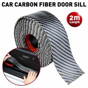 Car Carbon Fiber Door Plate Bumper Sill Scuff Cover Anti Scratch Sticker 2M