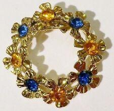 broche bijou vintage rétro couronne fleur cristal diamant couleur or poli * 4352