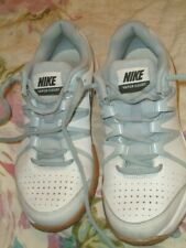 Nike Girls 'Vapor Court' White & Grey Leather Trainers In Exc Cond. UK 3 (36)