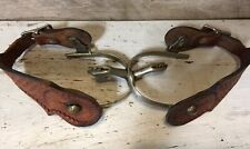 New ListingVintage Cowboy Western Etched Spurs with Hand Stamped Leather Straps