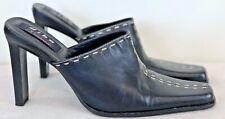 "Womens DIBA Square Toe Mules/Pumps Black Leather W/Stitching Size 7.5 ""Amanda"""