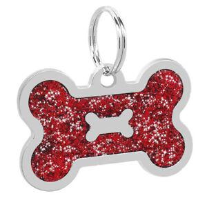 100pcs Bulk Blank Glitter Personalized Dog ID Tags Bone Engravable Pet Name Disc