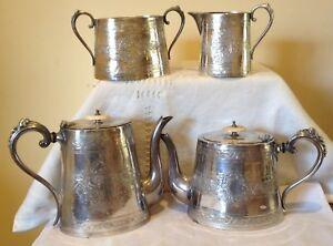 Antique Silver Plate Tea Coffee Set-DANIEL & ARTER England