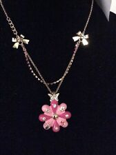 Betsey Johnson Puffy Flower Necklace Butterfly Crystals Ladybug Garden Pink W-7
