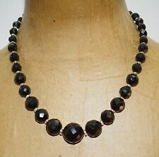 """Vintage Graduated Faceted Jet Clear Glass Crystal Beaded 18"""" Necklace"""