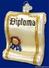 DIPLOMA GRADUATION OLD WORLD CHRISTMAS GLASS SCHOOL EDUCATION ORNAMENT NWT 36085