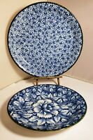 SET OF 2 MADE IN JAPAN BLUE & WHITE PLATES FLORAL With GREEN RIM