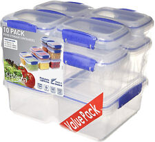 Sistema 10 Pack Food Storage Container Meal Prep Containers Plastic BPA Free