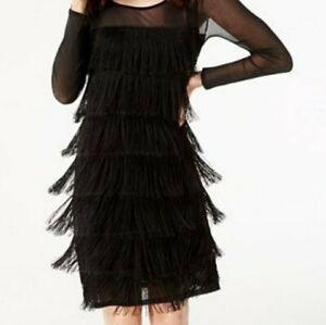 INC Dress Shift Black Medium Fringed Sheer Long Sleeve Jewel Neck M Womens New