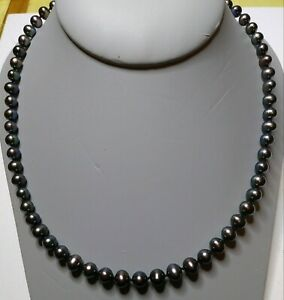 """Genuine Cultured Tahitian Akoya Pearl  Necklace 19"""" 14K Gold Clasp"""