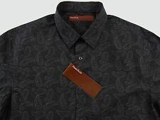 Men's PERRY ELLIS Gray Black Grey Paisley Shirt M Medium NWT NEW