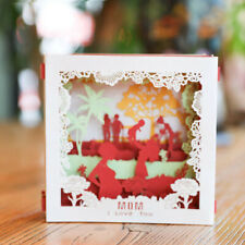 FM_ ZK_ Charming Mothers Day Greeting Card 3D Pop Up Carved Box Handmade Postcar