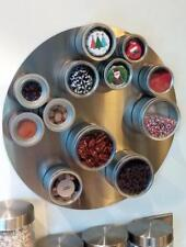 """Versa-Board 17.5"""" Circle Stainless Magnet Panel Magnet Wall Base Spice Rack"""