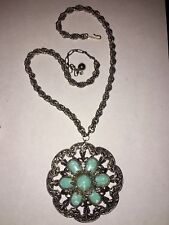 Vintage LISNER Turquoise Glass Pendant Necklace 1960s-70s Mod Boho Hippie Chic!