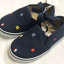 Janie and Jack Boys Shoes Toddler 6 Blue Canvas Slip On Nautical NWT