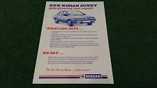1987 1988 1989 Nissan SUNNY ROAD TEST COMMENTS + YOU SAY SINGLE SHEET BROCHURE