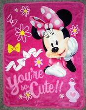MINNIE MOUSE Northwest You're So Cute!! Fleece Throw Blanket Pink Disney Daisy