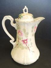 Antique Hand Painted Floral Porcelain Chocolate Pot or Teapot * Made In Japan