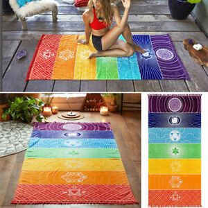 Rainbow Chakra Tapestry Towel Yoga Mat Sunscreen Shawl Wall Hanging Blanket UK