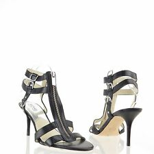 Michael Kors Kennedy T-Strap Black Leather Strappy Sandal Heels Size 9.5 M NEW!