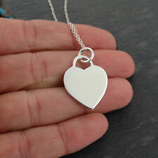 Personalized Heart Pendant Necklace - Custom Engraved - 925 Sterling Silver