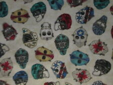 HOCKEY MASKS DECORATED CREAM COTTON FABRIC BTHY