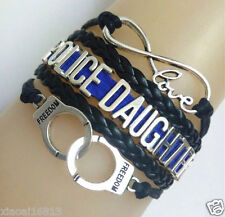Infinity Love POLICE DAUGHTER Handcuffs Freedom Charms Leather Braided Bracelet