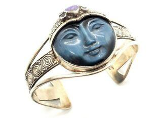 Signed Modernist SAJEN Sterling Silver GEMSTONE Cuff Bracelet FITS LARGE WRIST 8