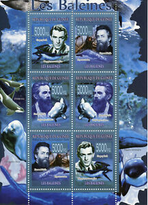 Guinea Whales Stamps 2008 MNH Marine Animals Herman Melville Gregory Peck 6v M/S