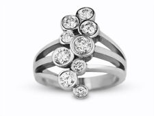 Right Hand Ring In 14K White Gold 1.00 Carat Round Cut Diamond Women's Cocktail