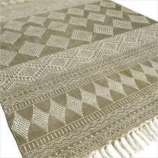 4 X 6 PIEDI VERDE COTONE blocco stampa area ACCENT Dhurrie Tappeto Piatto tessitura cucita a mano