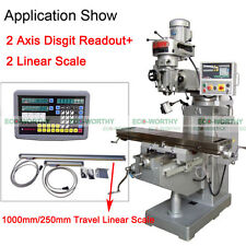 5 um DRO 2 Axis Digital Readout And TTL Linear Scale for Mill Milling Bridgeport