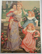 """Victorian Lithograph Print Picture """"Mother And Daughter'S At Play"""" 12X16"""