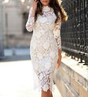 Vogue Women's White Lace Slim Fit Formal Dress Cocktail Evening Long Sleeve Chic