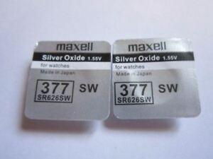 2 Pcs SR626SW SR626 V377 377 1.55v Silver Oxide Maxell Button Cell Watch Battery