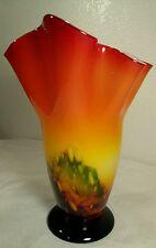 Dale Tiffany Art Glass Vase Hand Blown Red Ruffled Handkerchief Rim 11.5