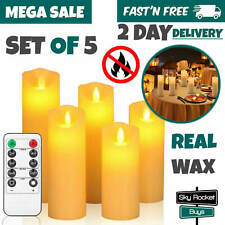 Flameless Candles with Remote Timer Moving Wick Flickering Light Pillar Decor