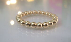 Gold Ring for Women, Yellow Gold Filled Bead, Stretch, Stacking, Thumb Toe Ring