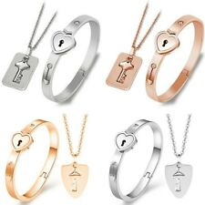 Couple Titanium Steel Lock Bangle Bracelet & Key Pendant Necklace Love Set Hot
