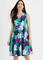 Phase Eight Elba Floral A-Line Dress Jade Size UK10 RRP140