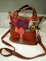 Vintage Fossil Multicolor Genuine Leather Rare Women's Handbag Detachable Strap