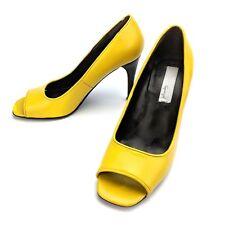 Spiegel Yellow Open Peep Toe Leather Pump Heels 04226 Size 6.5 M