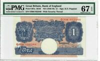 Great Britain 1 Pound Note 1940-48 Pick#367a PMG Superb GEM UNC 67 EPQ - Rare