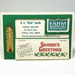 Vintage 1976 Advertising Thermometer Calendar Farm Bureau Buffalo Wyoming Unused