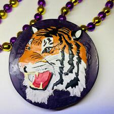 "Mardi Gras Bead Necklace LSU Round Tiger Purple 20"" Baton Rouge Louisiana"