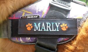 Personalized multi-coloured embroidered K9 harness labels - x 2pcs - FREE Post